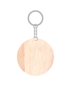 ป้ายพวงกุญแจไม้ พร้อมแกะสลัก ทรงกลม(Round) ไม้ยางพารา