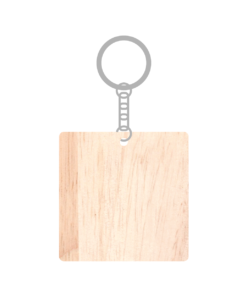 ป้ายพวงกุญแจไม้ พร้อมแกะสลัก ทรงสี่เหลี่ยมจัตุรัส(Square) ไม้ยางพารา