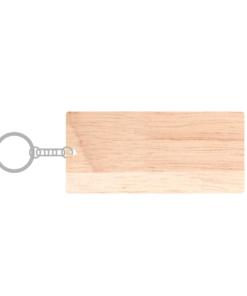 ป้ายพวงกุญแจไม้ พร้อมแกะสลัก ทรงสี่เหลี่ยมผืนผ้า(Rectangle) ไม้ยางพารา
