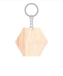 ป้ายพวงกุญแจไม้ พร้อมแกะสลัก ทรงหกเหลี่ยม(Hexagon) ไม้ยางพารา