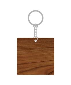 ป้ายพวงกุญแจไม้ พร้อมแกะสลัก ทรงสี่เหลี่ยมจัตุรัส(Square) ไม้สัก