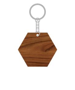 ป้ายพวงกุญแจไม้ พร้อมแกะสลัก ทรงหกเหลี่ยม(Hexagon) ไม้สัก