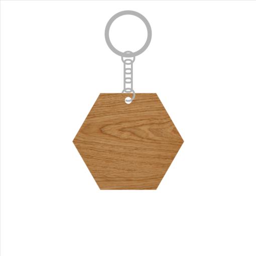ป้ายพวงกุญแจไม้ พร้อมแกะสลัก ทรงหกเหลี่ยม(Hexagon) ไม้อัดสัก