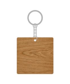 ป้ายพวงกุญแจไม้ พร้อมแกะสลัก ทรงสี่เหลี่ยมจัตุรัส(Square) ไม้อัดสัก