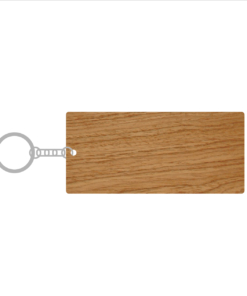 ป้ายพวงกุญแจไม้ พร้อมแกะสลัก ทรงสี่เหลี่ยมผืนผ้า(Rectangle) ไม้อัดสัก
