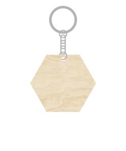 ป้ายพวงกุญแจไม้ พร้อมแกะสลัก ทรงหกเหลี่ยม(Hexagon) ไม้อัดขาว