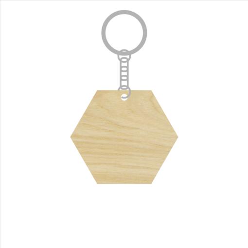 ป้ายพวงกุญแจไม้ พร้อมแกะสลัก ทรงหกเหลี่ยม(Hexagon) ไม้อัดแอช