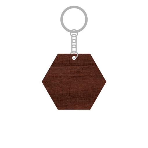ป้ายพวงกุญแจไม้ พร้อมแกะสลัก ทรงหกเหลี่ยม(Hexagon) ไม้เนื้อแข็ง