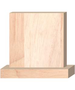ป้ายตั้งโต๊ะไม้ ทรงสี่เหลี่ยม(Square+Base) ไม้ยางพารา